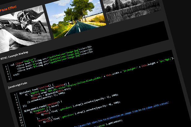 Screenshot of code example grayscale html5 canvas effect
